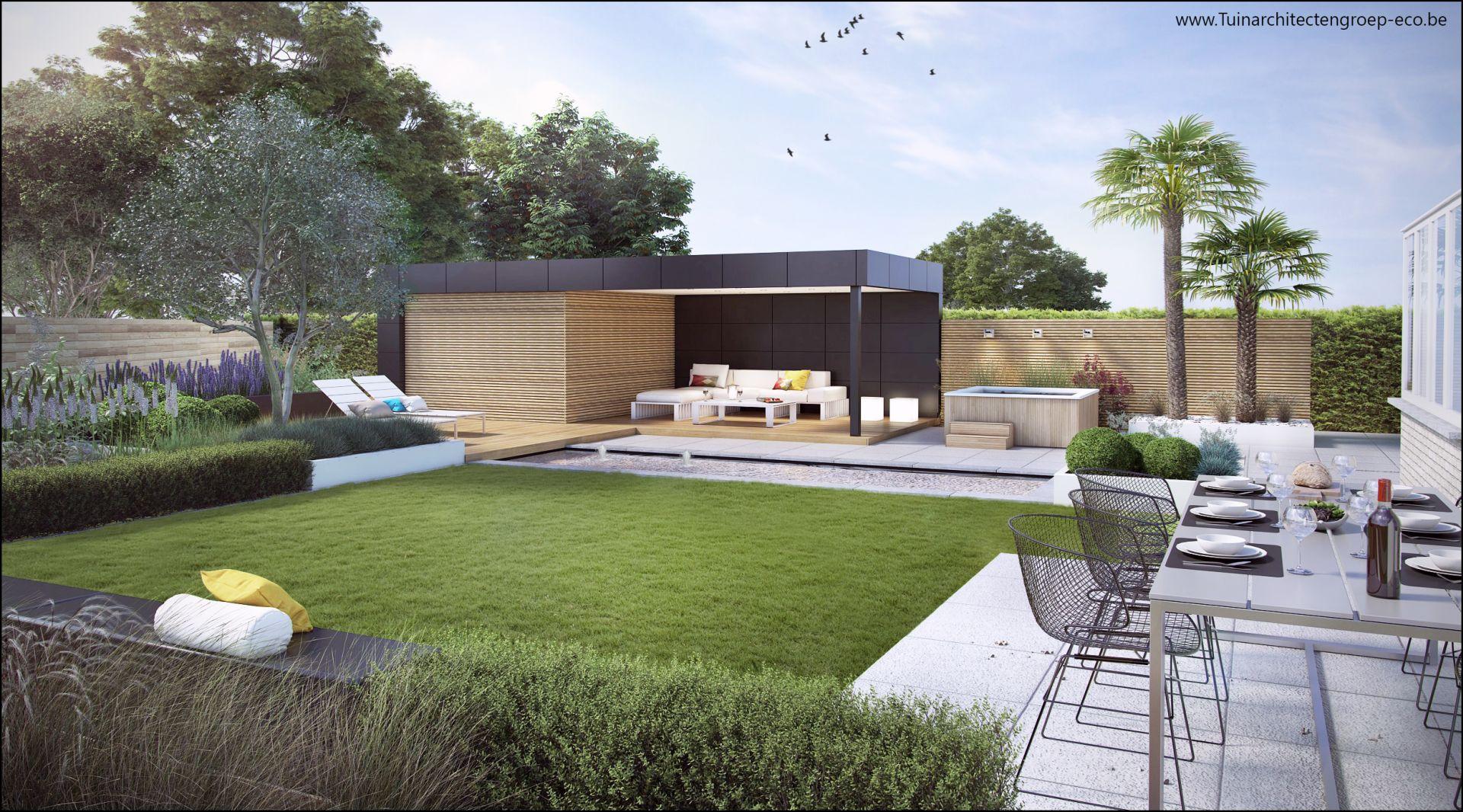 Eco tuinarchitectengroep 3d projecten loungetuin met for Tuinaanleg modern