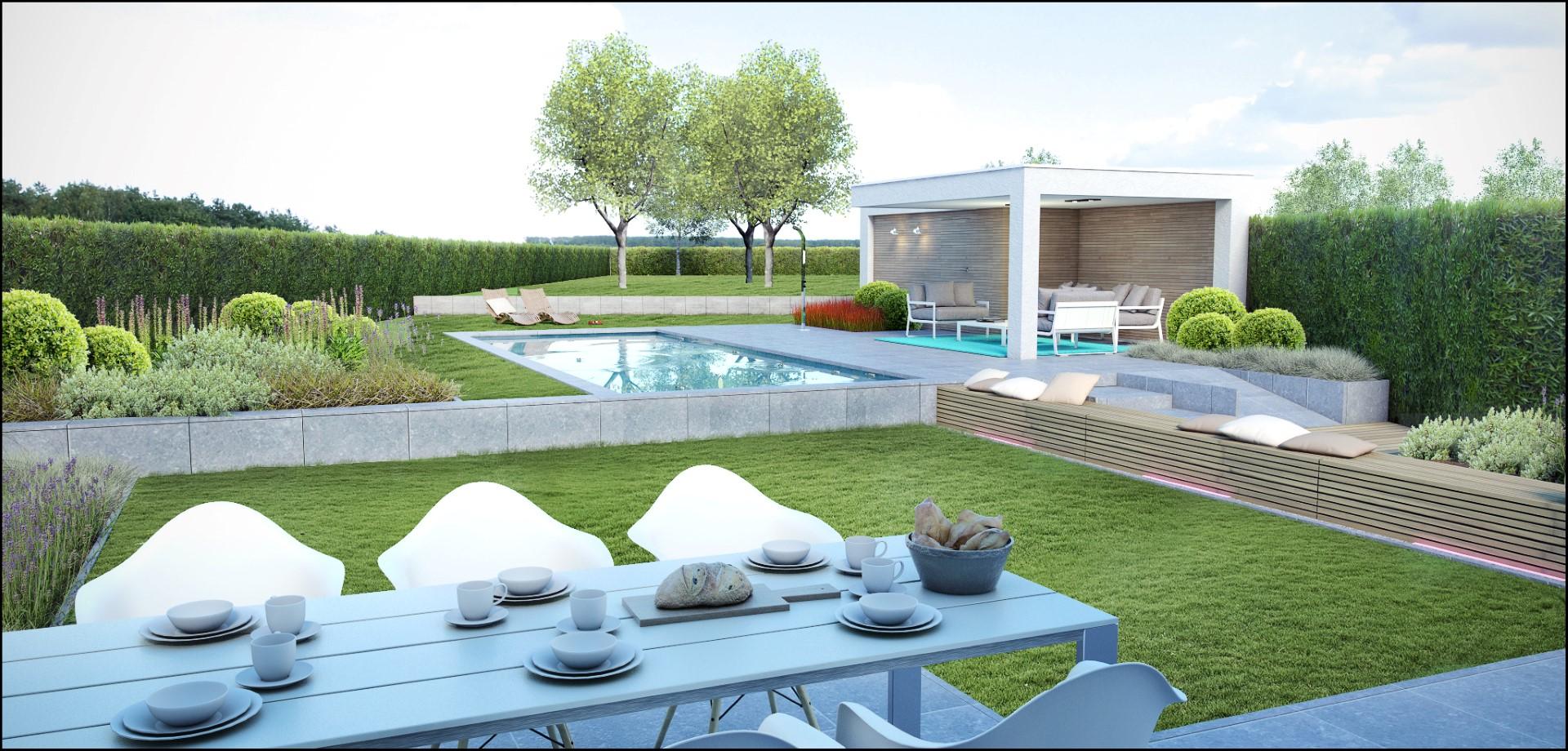 Eco tuinarchitectengroep 3d projecten zwembad poolhouse - Tuin met zwembad design ...