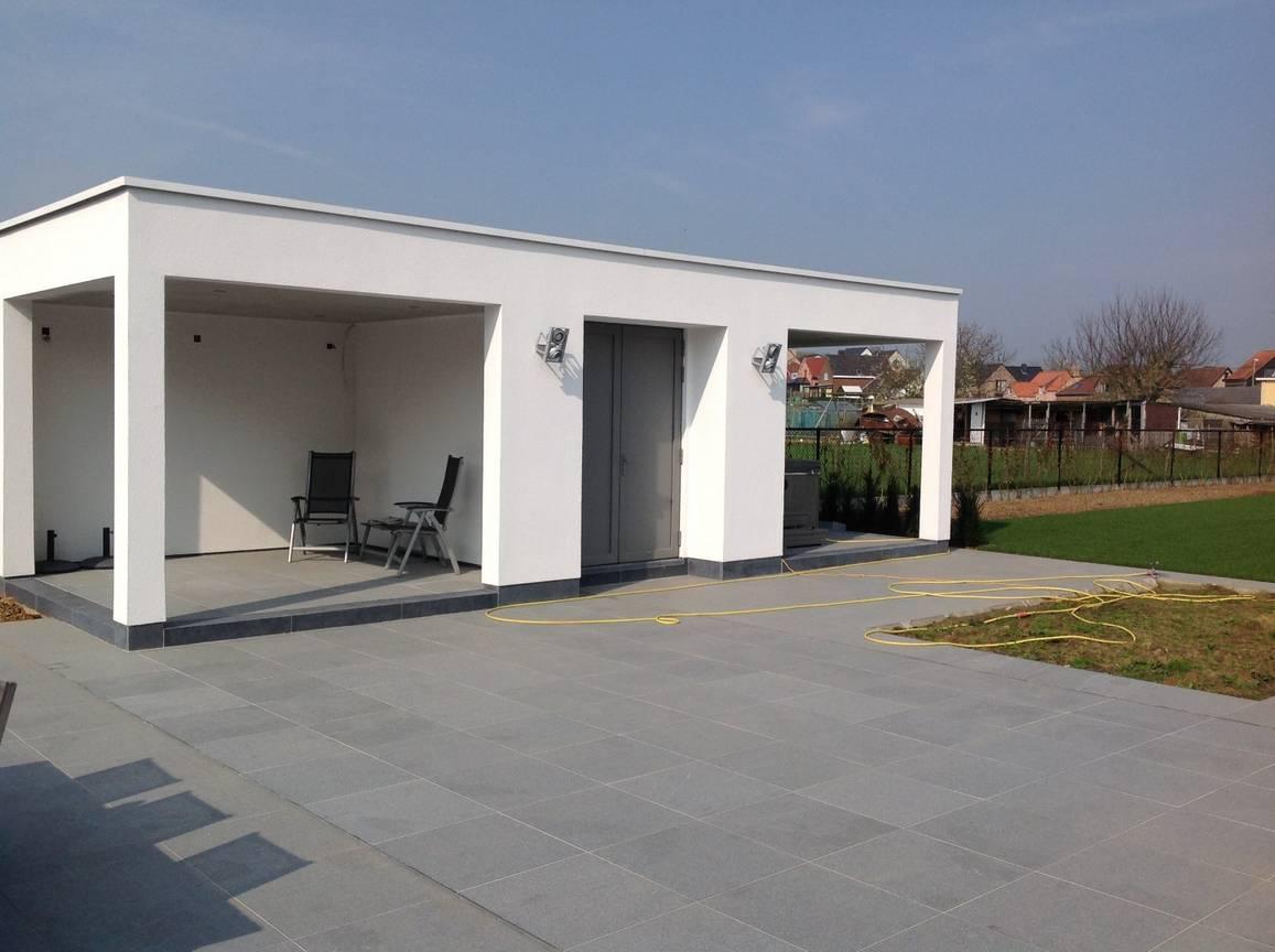 Eco tuinarchitectengroep tuinaanleg verhardingen steen - Overdekt terras in aluminium ...