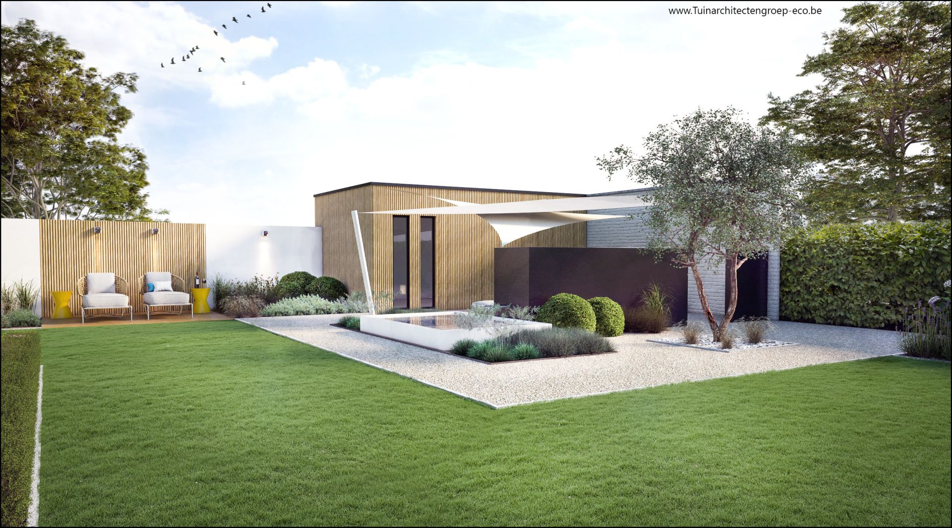 Eco tuinarchitectengroep 3d projecten moderne tuin ninove for Moderne tuin