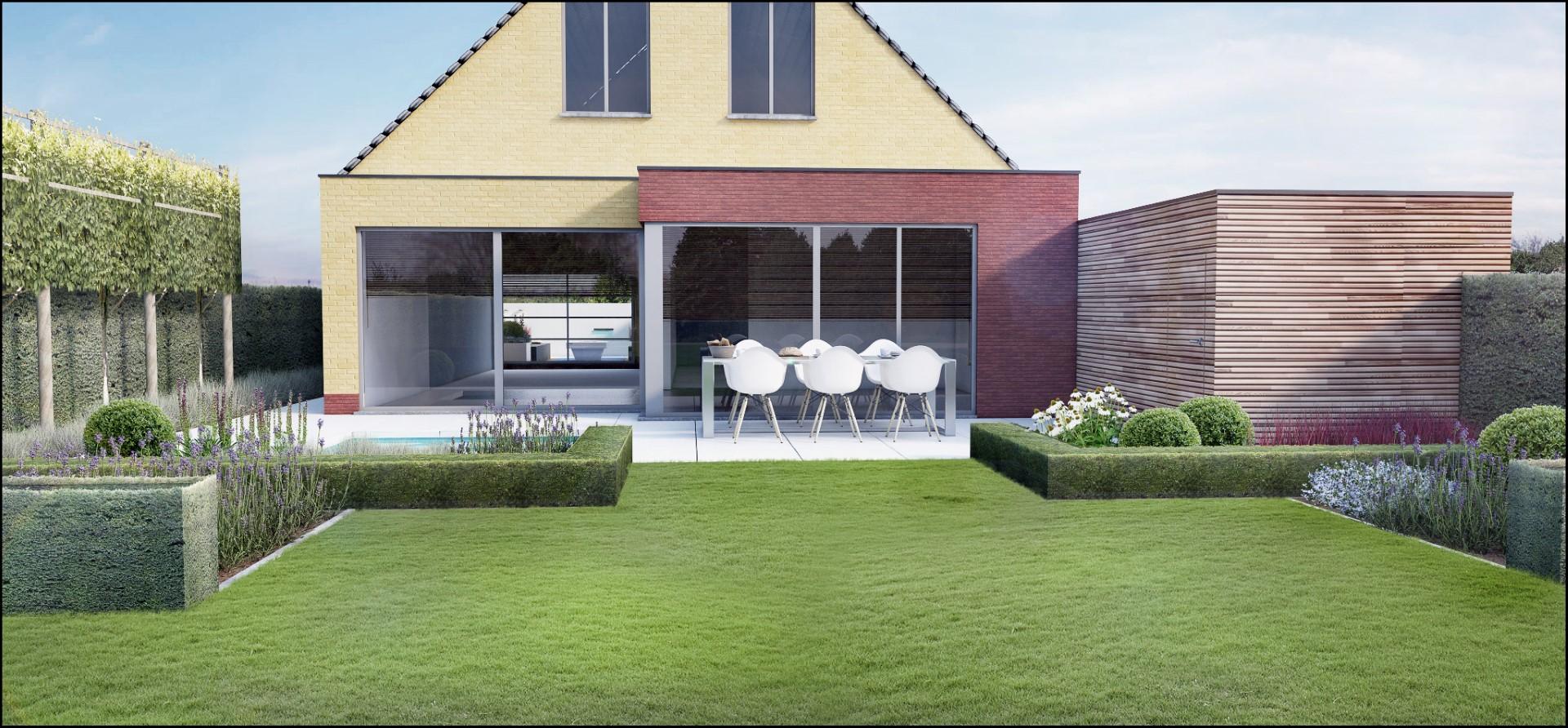 Eco tuinarchitectengroep 3d projecten lounge tuin ninove for Moderne kleine tuin