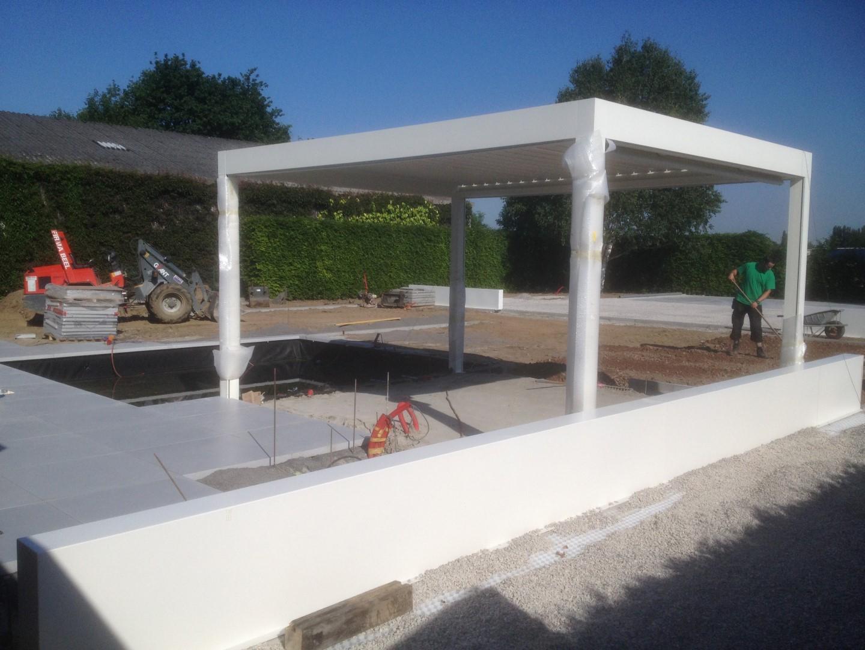 Eco tuinarchitectengroep projecten moderne tuin west vlaanderen - Overdekt terras in aluminium ...