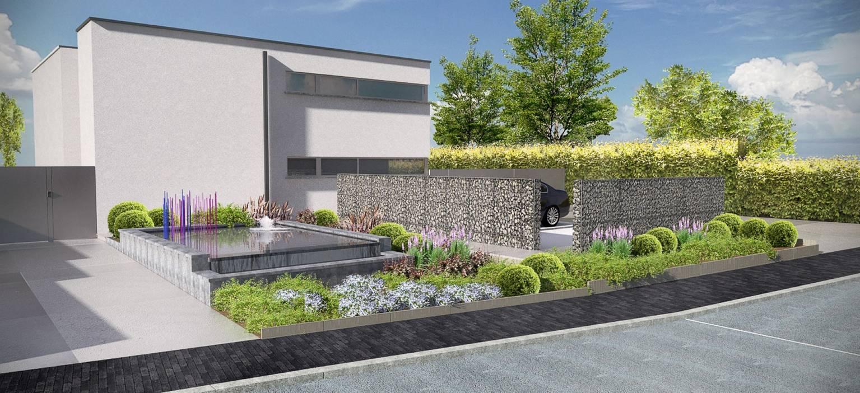 Eco tuinarchitectengroep projecten moderne voortuin ninove for Voortuin strak modern