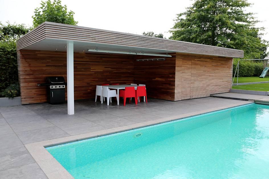 Eco tuinarchitectengroep projecten tuin met zwembad en poolhouse