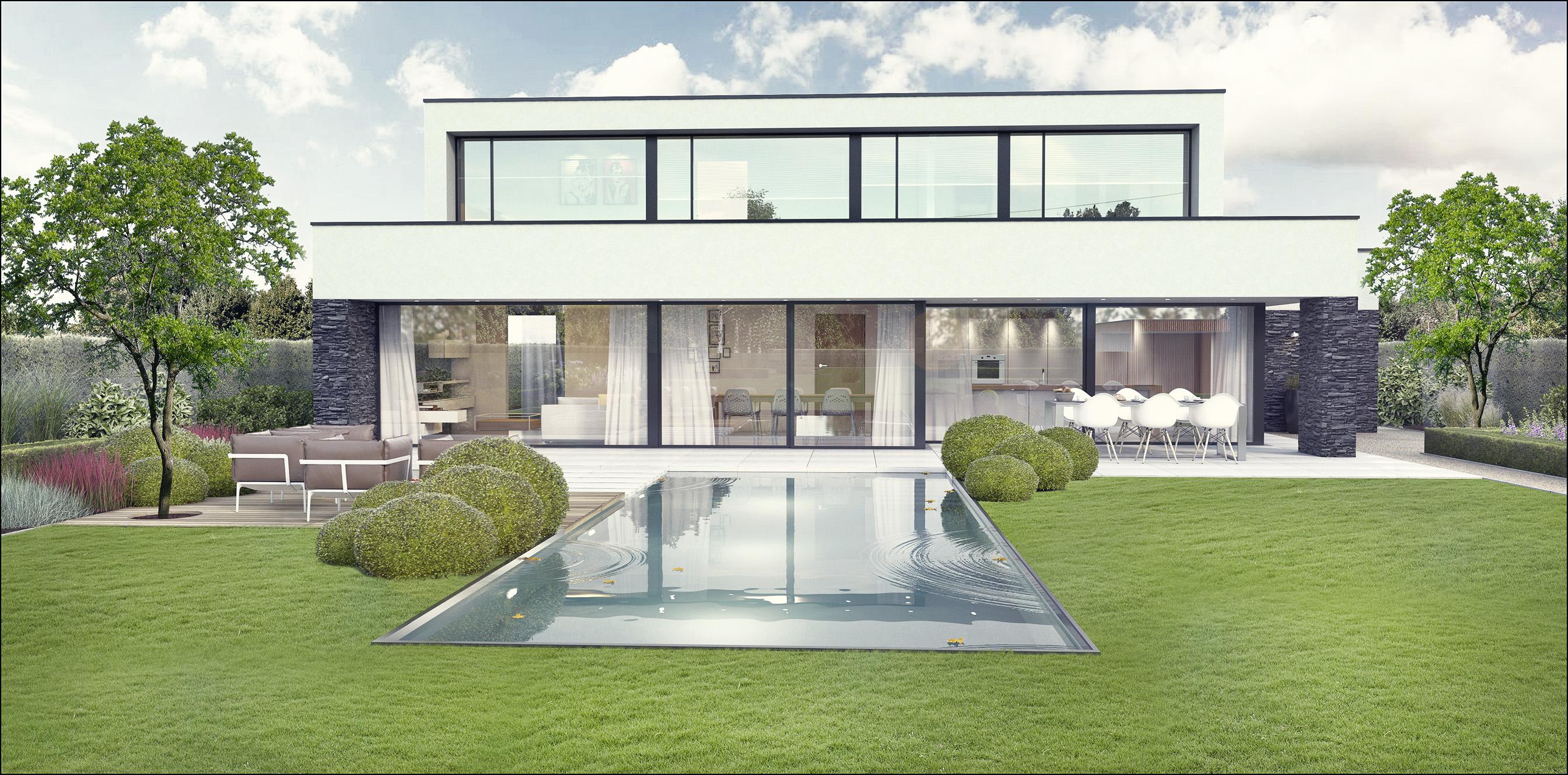 Eco tuinarchitectengroep 3d projecten tuin moderne woning for Huizen ideeen