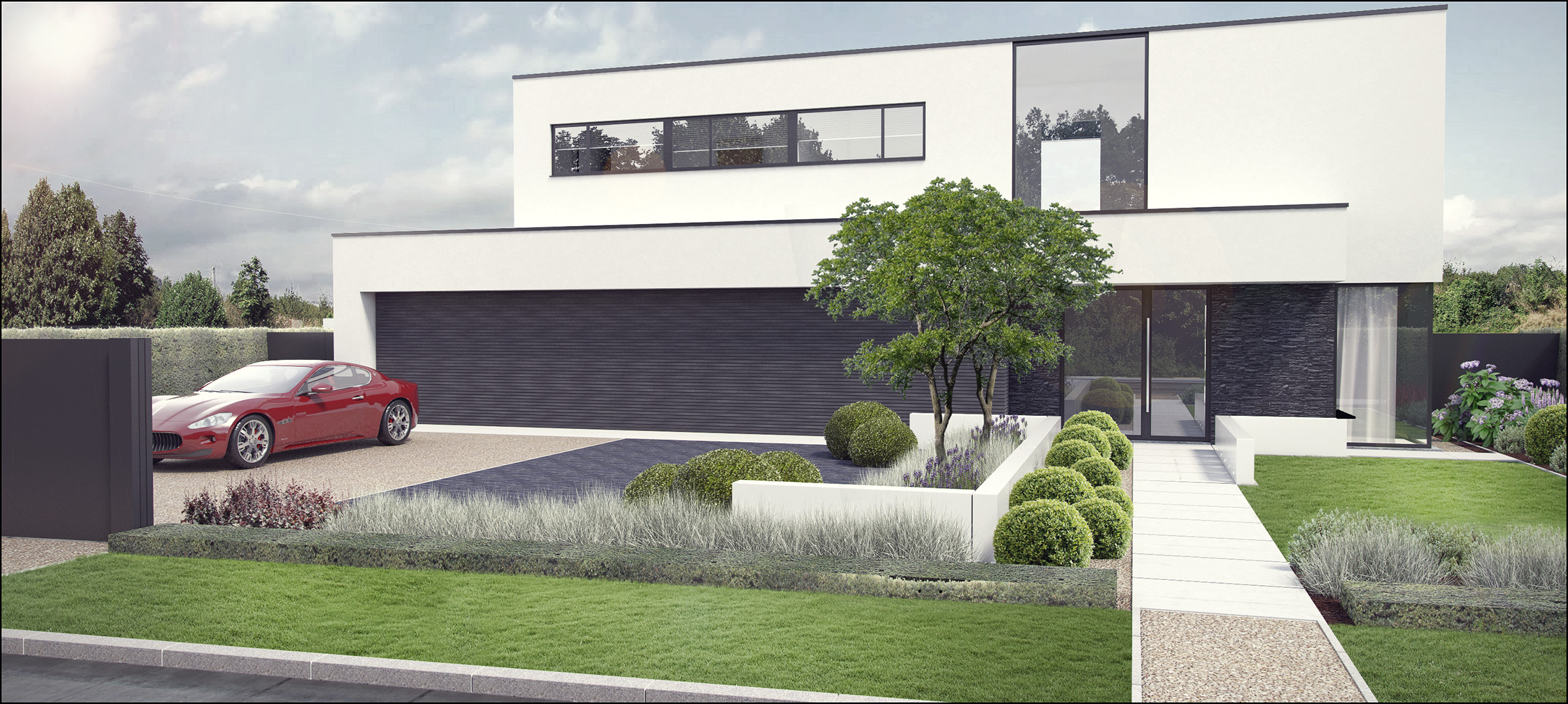 Eco tuinarchitectengroep 3d projecten tuin moderne woning - Outs allee tuin ...