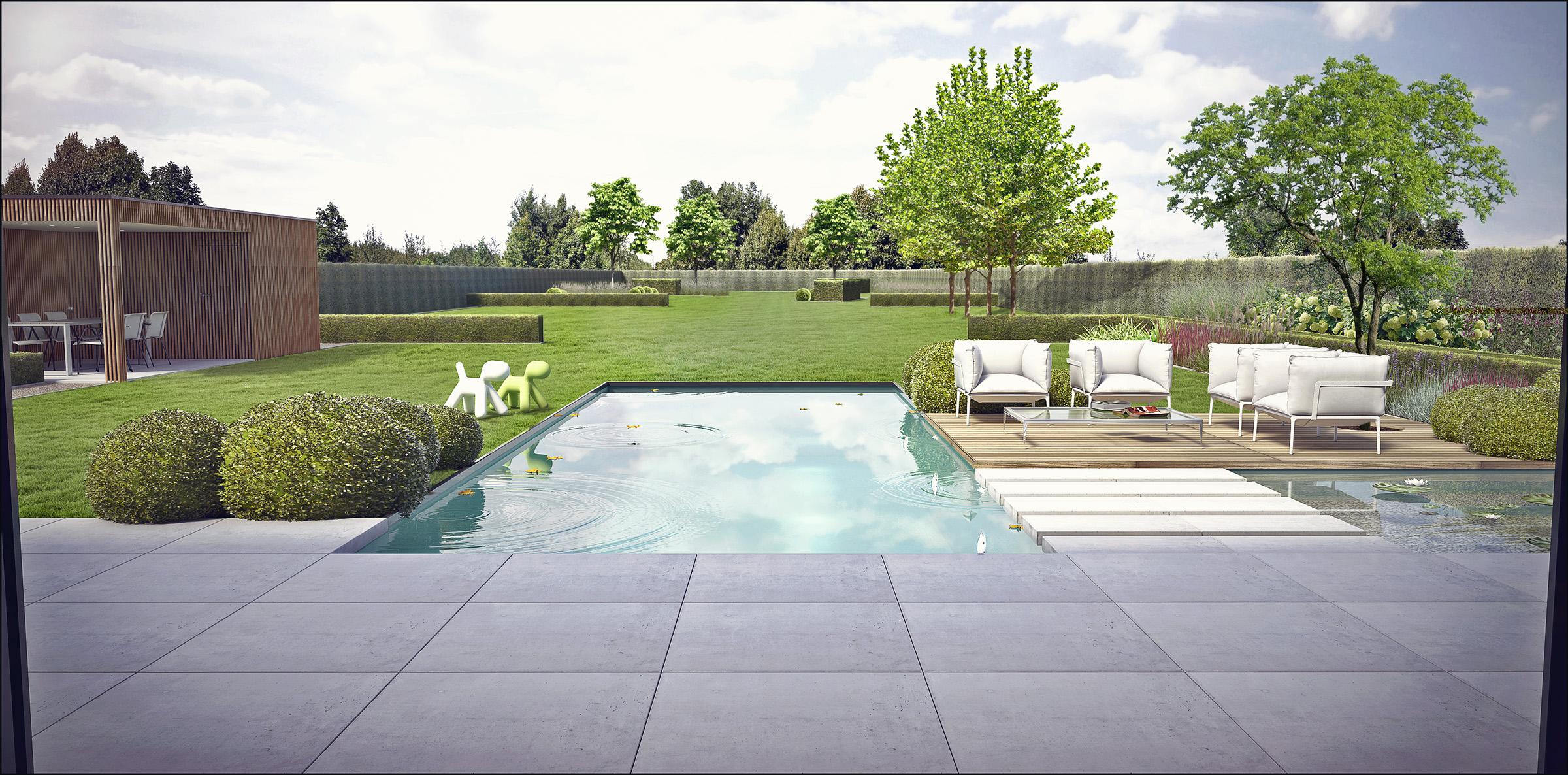 Eco tuinarchitectengroep 3d projecten tuin moderne woning for Beeld tuin modern