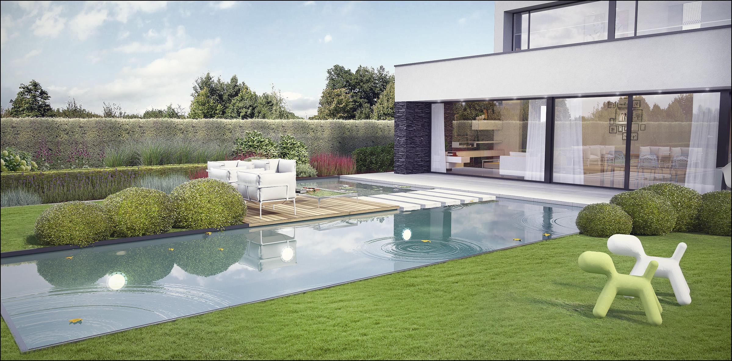 Eco tuinarchitectengroep 3d projecten tuin moderne woning - Klein zwembad in de kleine tuin ...